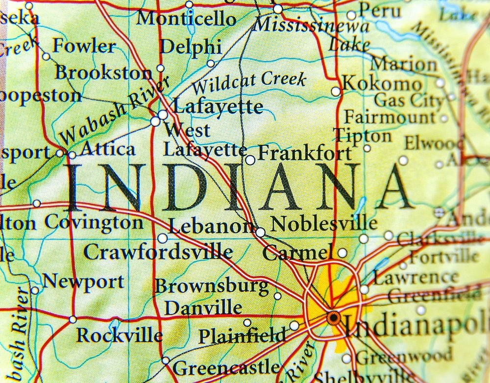 Map focusing on Indiana State.
