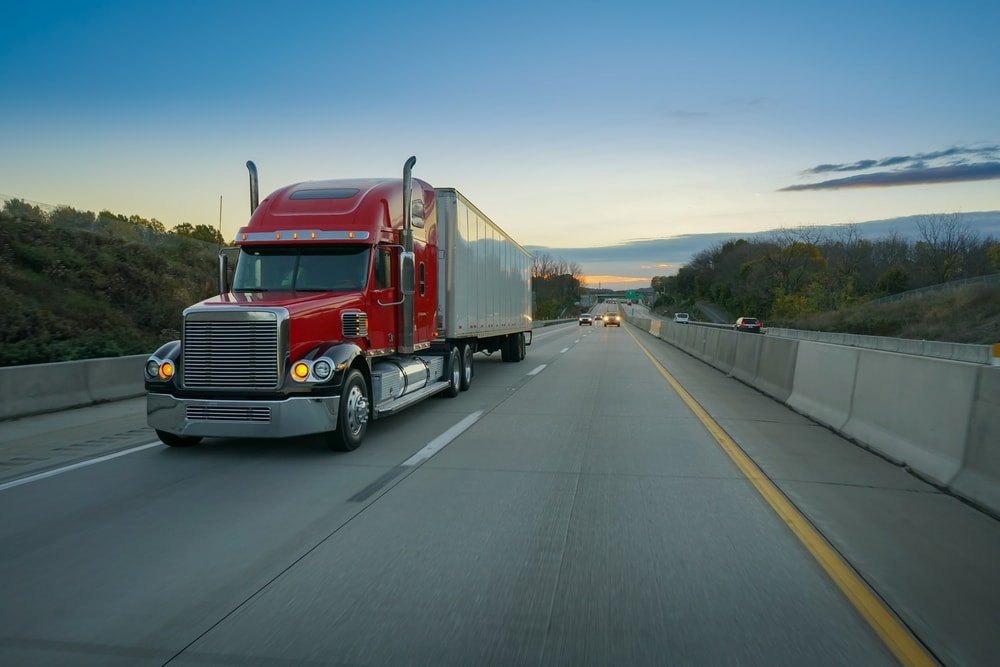 Big semi truck on the highway.