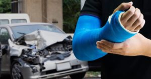 A man suffers a bone fracture after a car accident in Colombia City Indiana.
