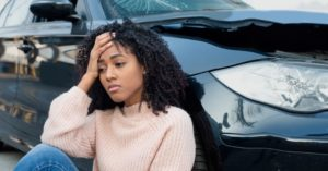 Woman got dizzy after car accident in Roanoke, Indiana.