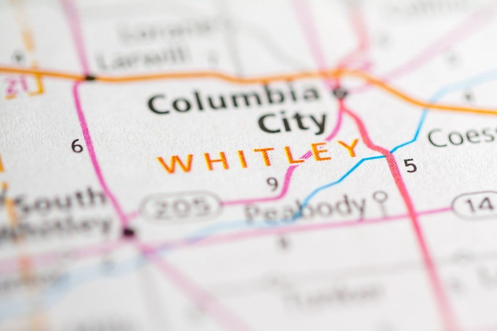 Whitley, Indiana map